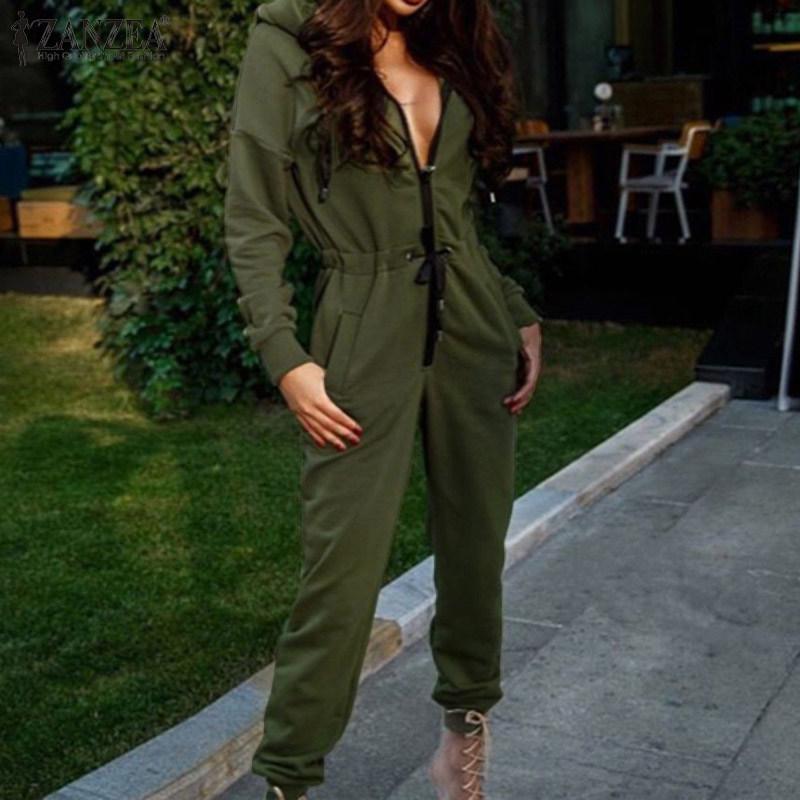 ZANZEA 2020 Fashion Women's Solid Casual Pockets Jumpsuits Ladies Zipper Overalls Jumpsuit Hoodies Rompers Tracksuits Long Pants
