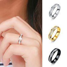 Tamanho US6-13 ouro prata chapeado cor preta aço inoxidável zircão casal anel feminino anel masculino feminino jóias femininas