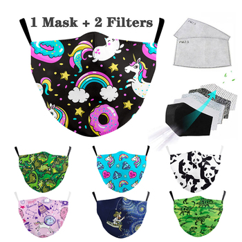 Reusable Fabric Kids Mask Mouth Washable Cute Mask Print Pink Cartoon Protective Face Masks Children Mask Fabric Dust Masks