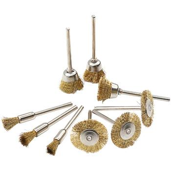 9 sztuk zestaw mosiądz szczotka druciana pasuje do Dremel akcesorium do narzędzia obrotowego 1 8 #8222 (3mm) Shank 3 sztuk tanie i dobre opinie SATTDA POLEROWANY Mosiądz drut Szczotka z drutu mosiężnego
