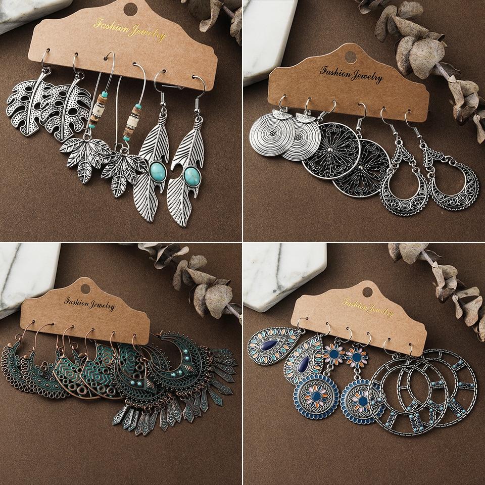 Bronze Silver Color Ethnic Earrings Sets Jewelry Long Metal Tassel Dangling Earrings For Women Leaf Flowers Geometric Earring