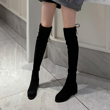 2020 Autumn Winter Sexy Elastic Flock Slim Fit Over The Knee Boots Women lace thigh ladies med Chunky High heel Thigh High botas spring autumn women over the knee boots thick high heel woman thigh high long boots high quality plus size 34 40 41 42 43 botas