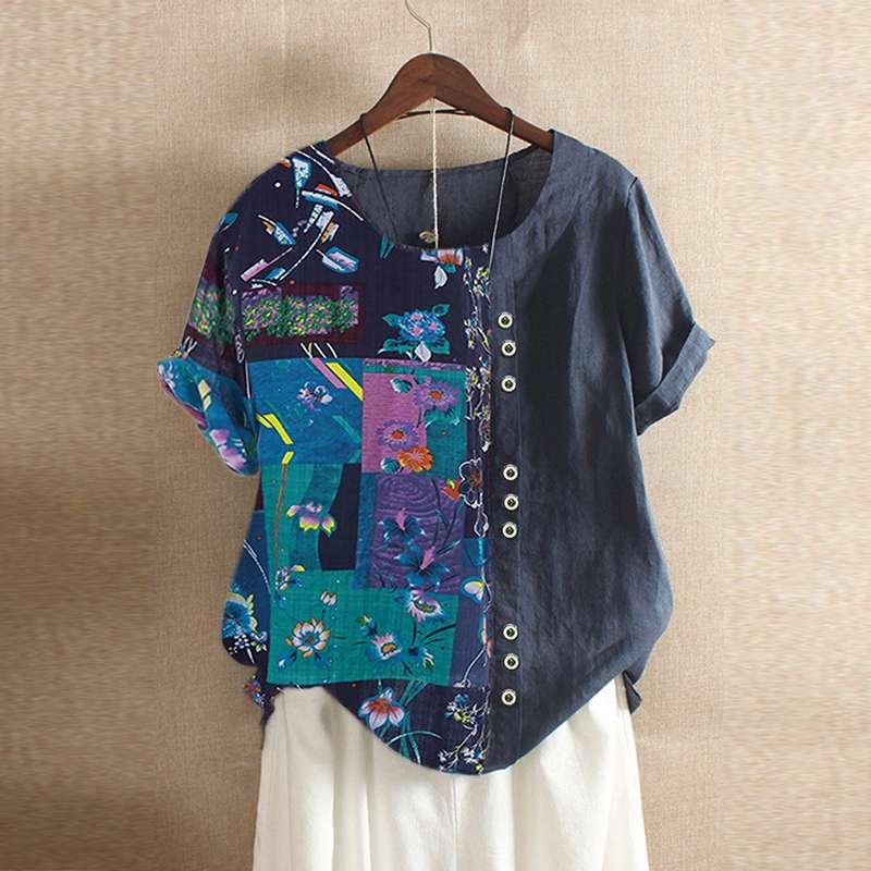 Plus Size Tunic Women's Printed Patchwork Blouse ZANZEA 2020 Elegant Tops Casual Short Sleeve Tee Shirt Female Button BLusas 5XL