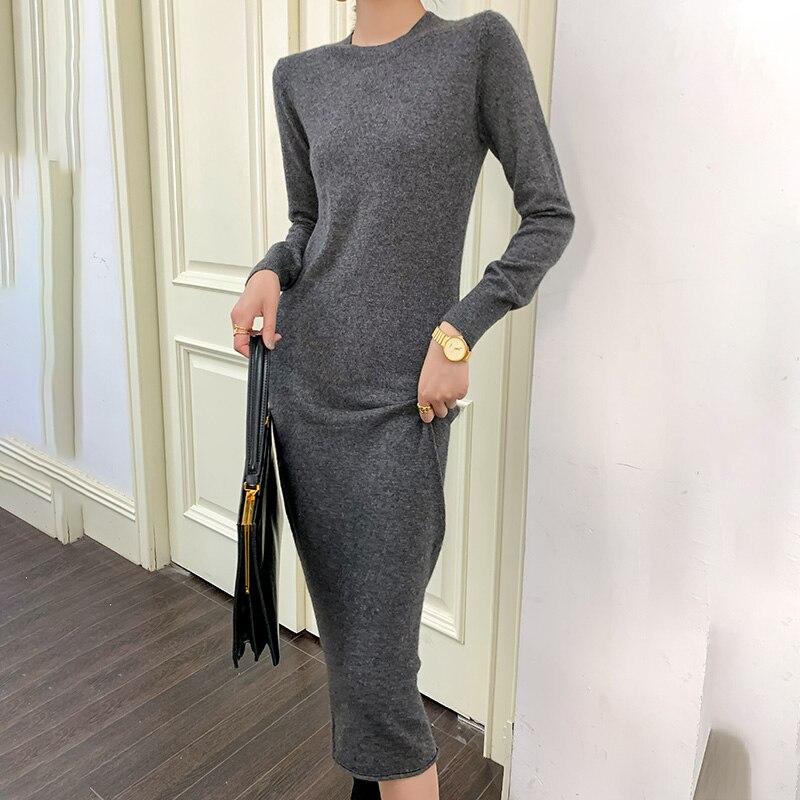 Женская длинная юбка, новый стиль 2020, свитер из 100% шерсти, удобное теплое универсальное однотонное базовое кашемировое платье с круглым вырезом|Платья| | АлиЭкспресс