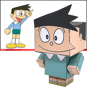 No-glue Doraemon Honekawa Suneo Cutting Cute Mini 3D Paper Model Papercraft Anime Figure DIY Cubee Kids Adult Craft Toys CS-032 image
