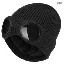 Inverno quente malha chapéus 2020 nova moda unisex adulto à prova de vento tampas de esqui com óculos removíveis engrossar esportes multi-função tampas