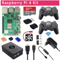 Raspberry Pi 4 Model B Game Kit+ 2.4G Wireless Gamepads + 64G 32G SD Card + ABS Case + Switch Power Supply + Fan + Micro HDMI