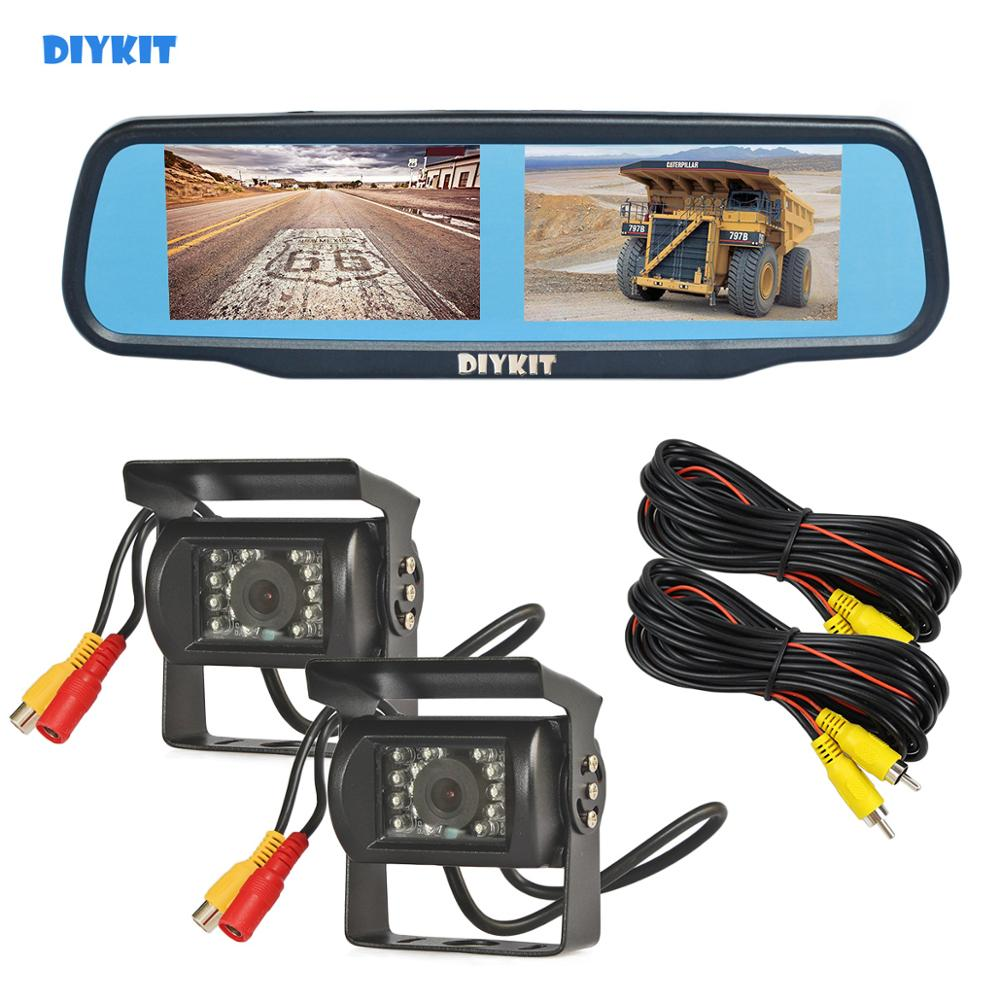 """Wired IR Backup Camera Kit US 4.3/"""" LCD Monitor Car Rear View HD Clip On Mirror"""