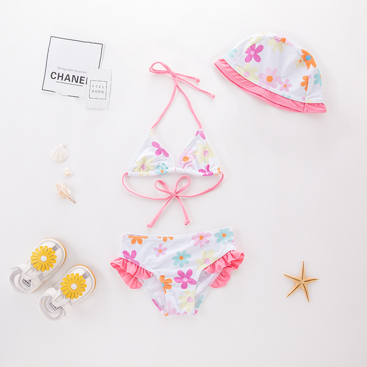 Girls' Two-piece Swimsuit Pink Flower Hua Bian Kuan KID'S Swimwear Hot Springs Clothing