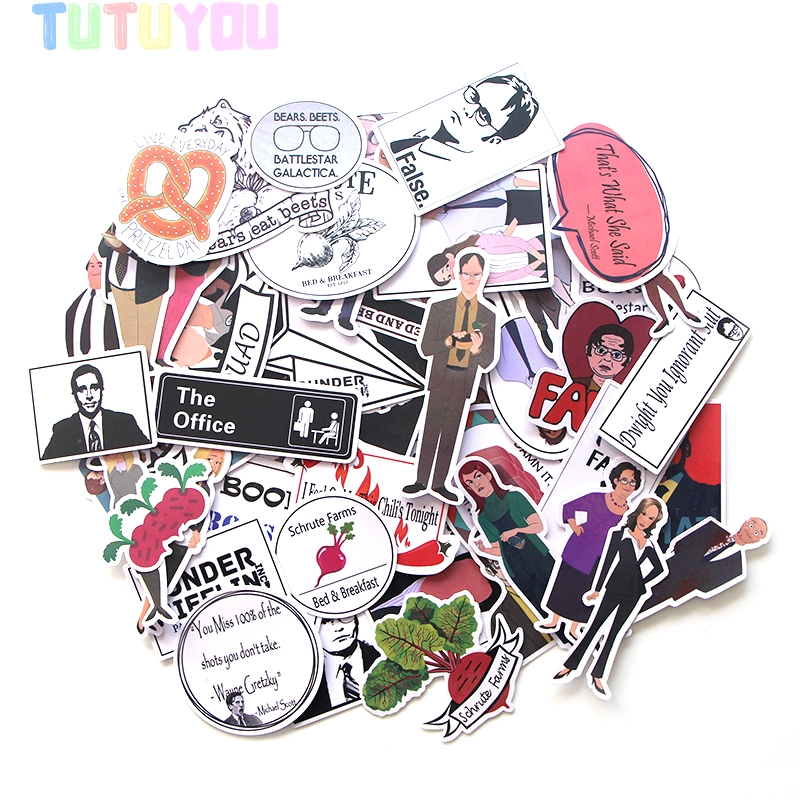 PC15 46pcs/set The Office TV Show Stickers Decal For For Guitar Laptop Luggage Car Fridge Graffiti Decal Sticker