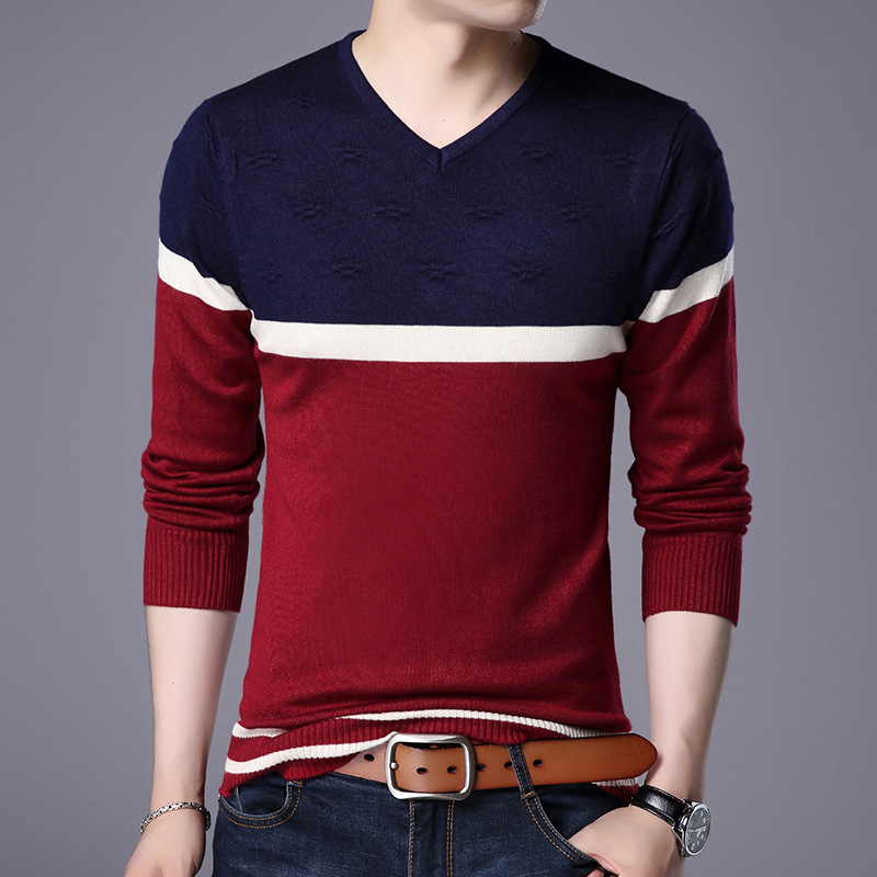 Autumn Of 2019 Young Men V-neck Sweater Sweater Fashion, Cultivate One's Morality Joker Color Matching Base Sweater