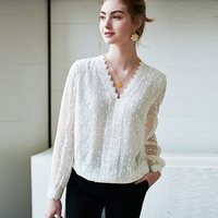 100% Silk Blouse Women Shirt Solid Vintage Embroidery Lace Design Ruffles V Neck Long Sleeves Graceful Style New Fashion