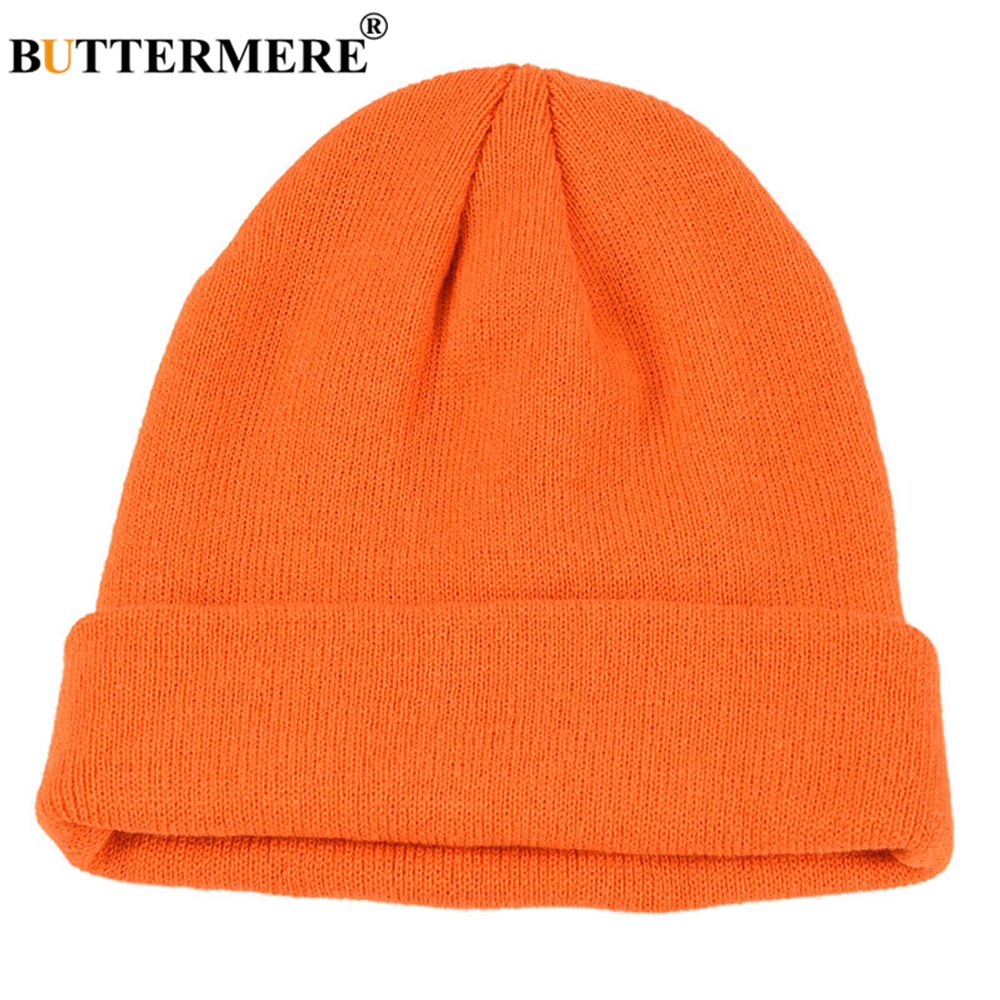 BUTTERMERE Skullies Beanies Winter Cap Men Women Korean Fashion Warm Solid Orange Yellow Red Blue Black Casual Knitted Hat