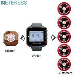 Retekess sistema de chamada sem fio garçom chamada pager + t128 relógio receptor + t117 quatro-chave transmissor botão restaurante pager