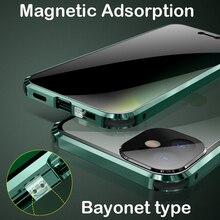 Sang Trọng Sự Riêng Tư Cho iPhone 12 11 Pro MAX Kim Loại Ốp Lưng Nắp Có Khóa Toàn Thân Kính Cường Lực Bảo Vệ Camera ốp Lưng