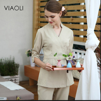 Viaoli Clinical Medico Hospital Work Wear Uniform White Lab Coat Medical Coat Nurse Service Clothing Long sleeve Medical Scrubs