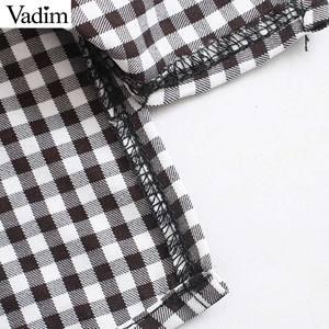 Image 5 - Vadim vrouwen mode basic plaid blouses peter pan kraag lange mouwen vrouwelijke toevallige zoete tops chic blusas mujer LB646