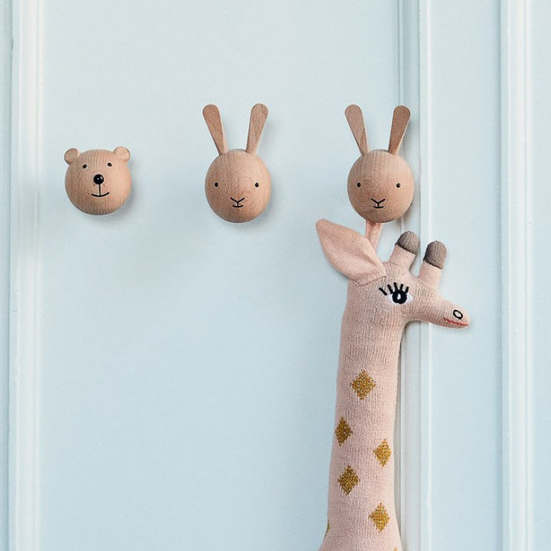 2pcs/set Bear Rabbit Wood Mounted Wall Hook Animal Head Children Kids Room Wall Decoration Coat Holder Hanger Newborn Baby Gift
