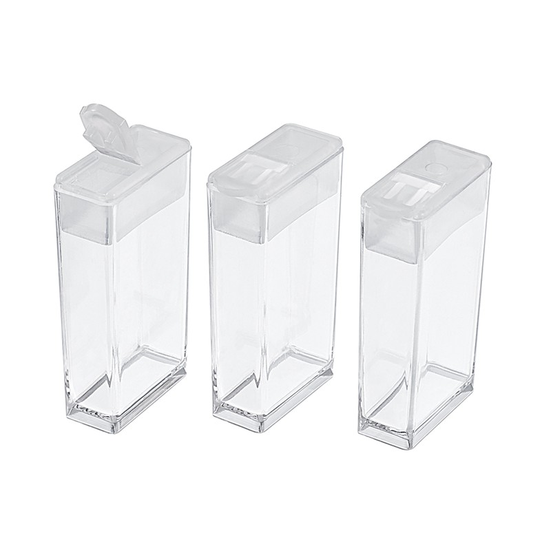 6pc Plastic Bead Containers Flip Top Bead Storage  For Seed Beads Storage Box Rectangle Clear 50x27x12mm Hole: 9x10mm