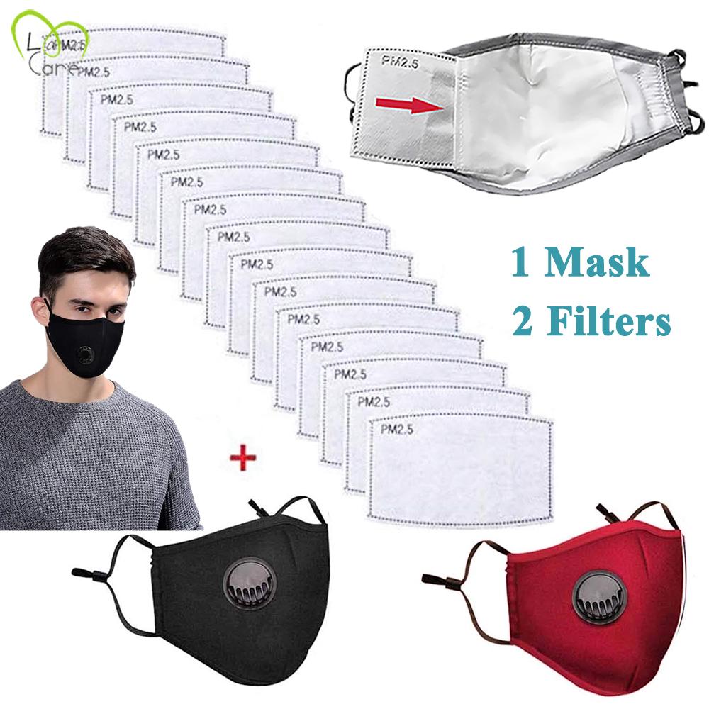 Face Masks With 2 Filters Mask With Breath Valve Dustproof Cotton Mask Reusable Mask