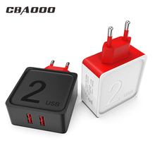 Buy CBAOOO USB Charger Fast Charger 3.0 EU Adapter 2 Port Mobile Phone Charger 5V 2.4A USB Charging for iPhone / Samsung / Millet directly from merchant!