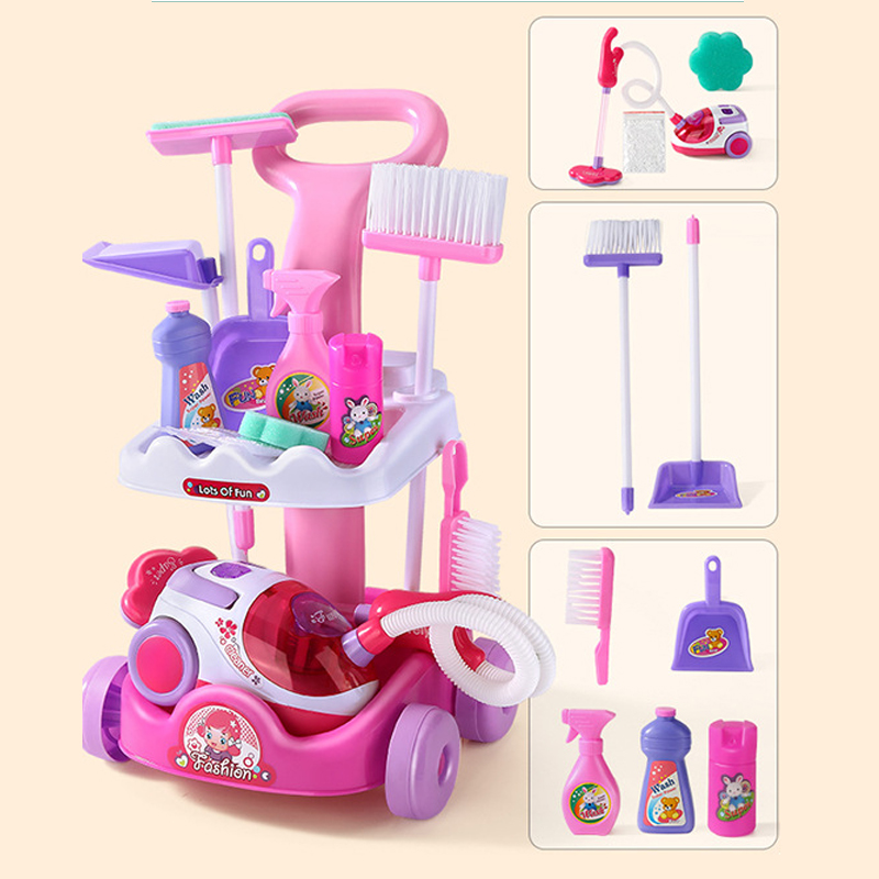 2021 New 1 Pcs/set Pretend Play Toy Simulation Vacuum Cleaner Cart Cleaning Dust Tools Baby Kids Play House Doll Accessories Toy