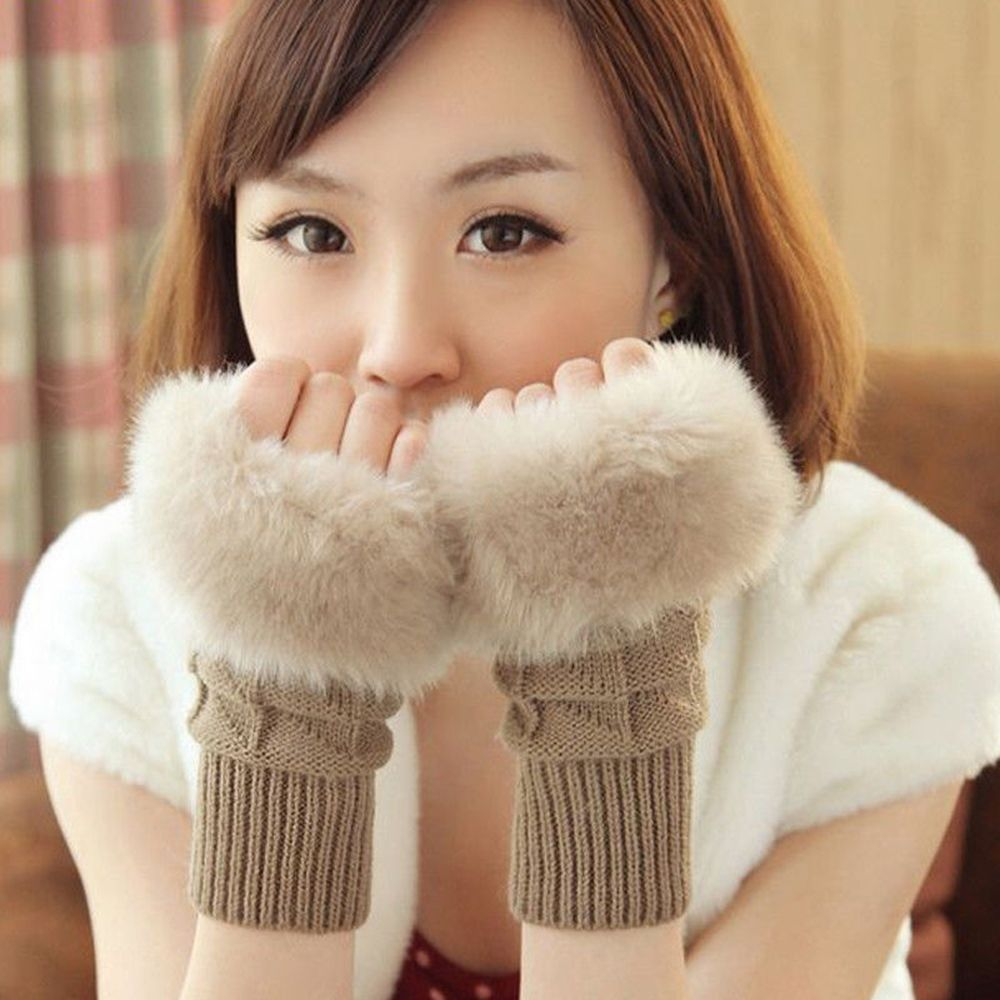 Fur Fingerless Mittens Winter Glove Women Warmer Wool Knitted Trim Glove Striped Mittens Gloves Girls Black Khaki White