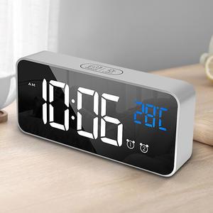 Watch Alarm-Clock Display Led-Night-Light Time Smart-Bedside Digital Modern Large Home