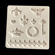 1PC Chocolate baking Sugar silicone mold bee crown key lace love EEC FDA chocolate cake drum decoration tool