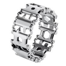 29 em 1 multi função pulseira relógio wearable banda pulseira cinta de aço inoxidável chave de fenda de viagem ao ar livre kit ferramentas motorista