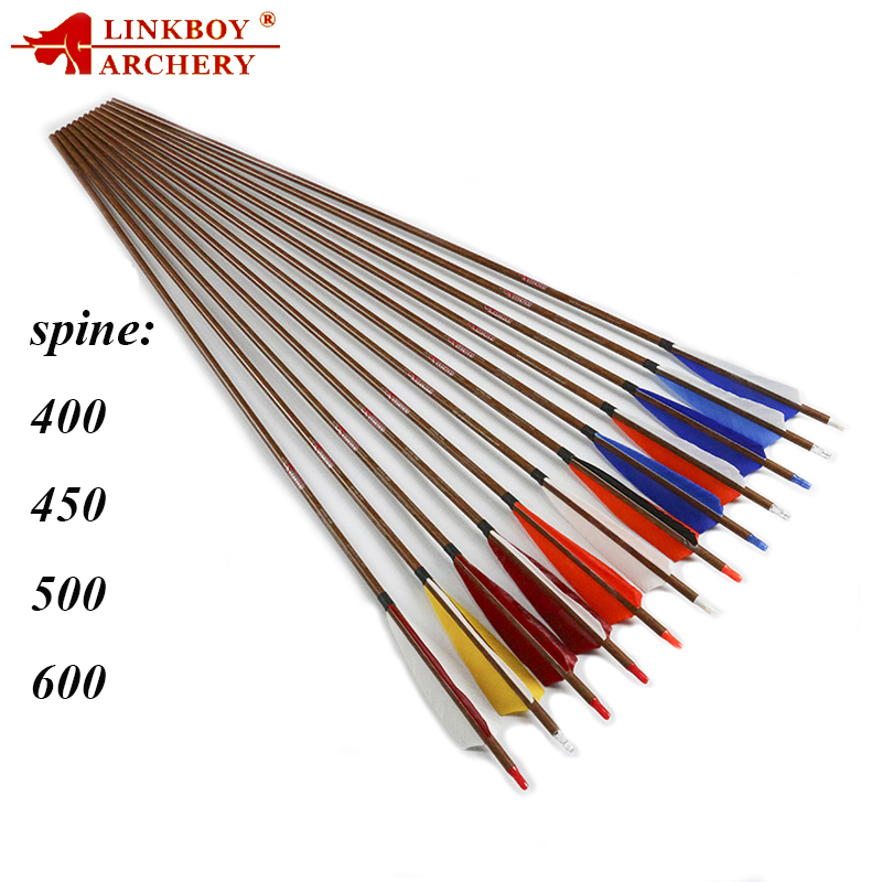 Linkboy Archery SP400-600 ID6.2 32/'/' Carbon Arrow Shaft Bow Hunting Target 12PCS