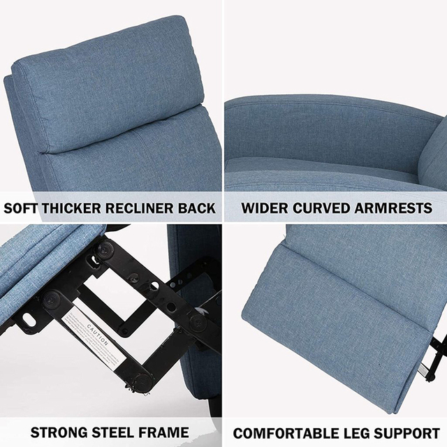 Fabric Recliner Chair Adjustable Single Sofa Home Theater Seating Recliner Reading Sofa for Living Room & Bedroom Red Gray Blue 6