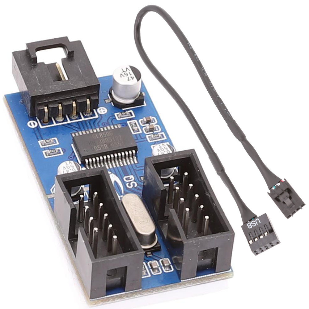 Motherboard USB 9Pin Interface Header Splitter 1 To 2 Extension Cable Adapter 9-Pin USB HUB Connectors