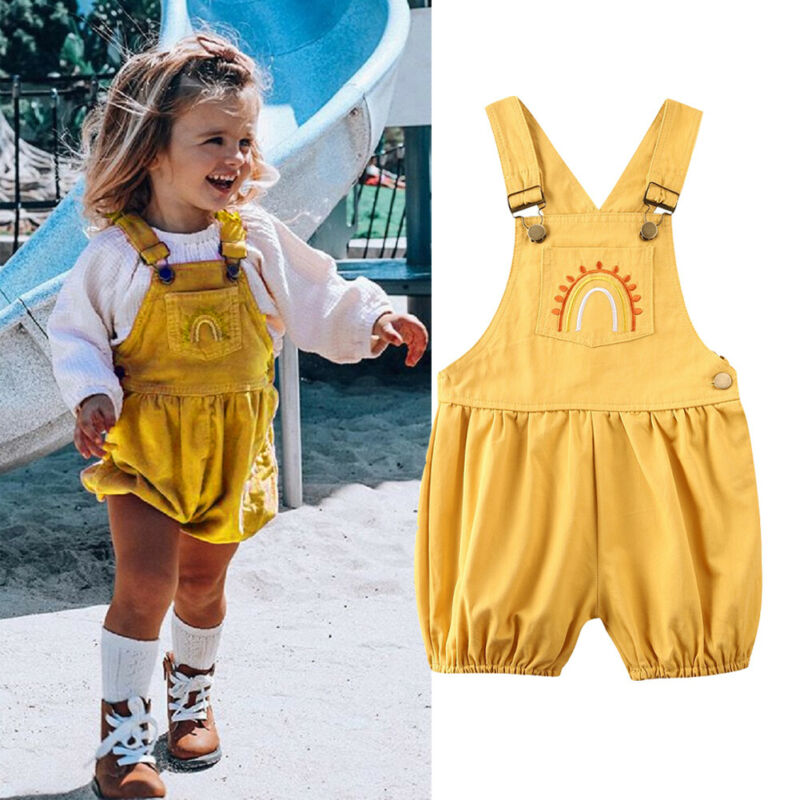 Kids Baby Girls Ruffle Bib Pants Cotton Romper Jumpsuit Overalls Outfits Clothes