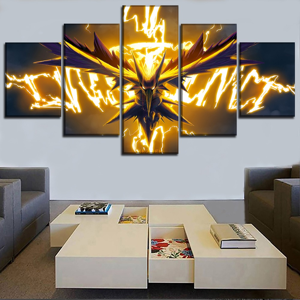 Home Decor Wall Art Painting On Canvas Print 5 Pieces Animation Pokemon Poster Dragon Spirit Modular Picture For Living Room 1