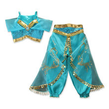 Lovely Aladdin Jasmine Princess Halloween Princess Kids Girls Clothes Sets Cosplay Costume Party Outfits 3-8Y