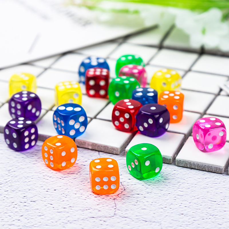 11 PCS/Lot Dice Set 11 Colors  High Quality Transparent Acrylic 6 Sided Dice  For Club/Party/Family Games 14mm