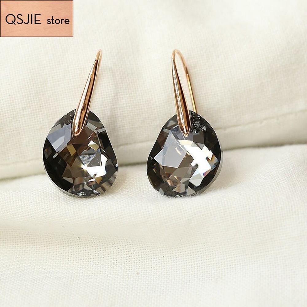 Высокое качество SWA светло черный Кристалл Модные ювелирные изделия с пирсингом серьги и женские шпильки|Серьги-гвоздики|   | АлиЭкспресс