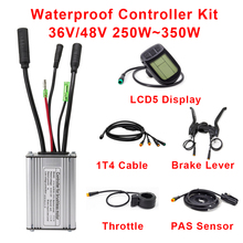 Electric Bike Controller Kunteng 36V 48V 250W 350W with Throttle Brake PAS Sensor LCD Display Ebike Controller Conversion Kit