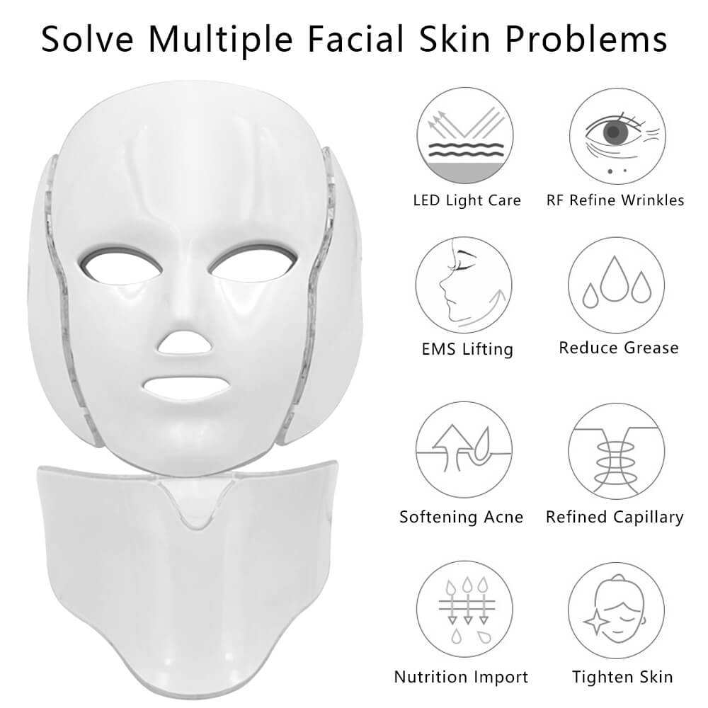 Image 2 - LED Light Facial Mask With Neck Skin Rejuvenation Face Care Photon Treatment Beauty Anti Wrinkle Acne Therapy Eu Tighten Machine-in LED Mask from Beauty & Health
