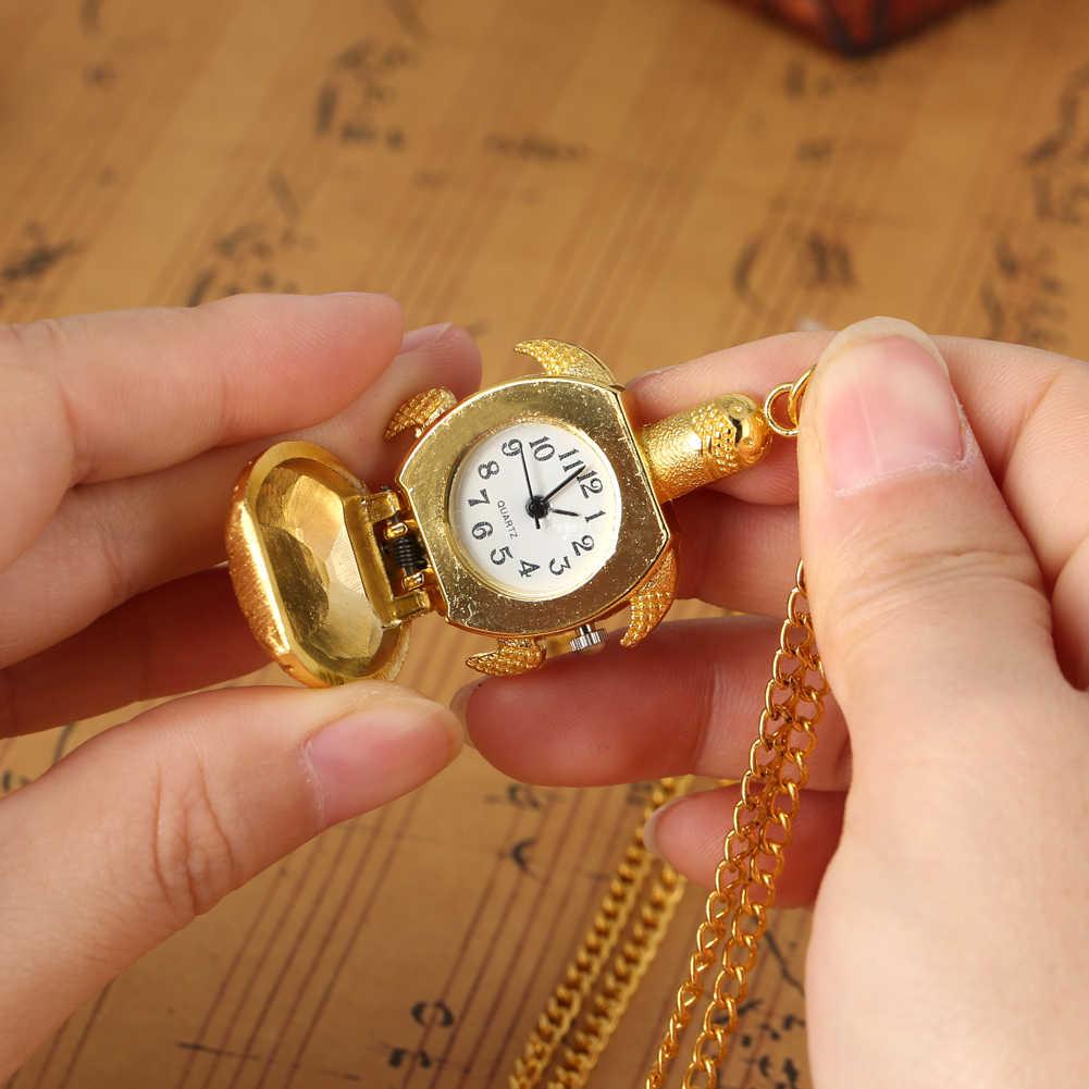 Golden น่ารักเต่าชุดนาฬิกากระชับตัวเลขอาหรับ Dial FOB นาฬิกาควอตซ์ Slim เสื้อกันหนาวจี้นาฬิกา