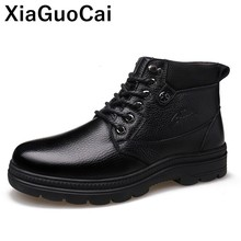 2019 Winter Warm Men Ankle Boots Genuine Leather Male Snow Boots Round Toe Lace Up Classic High Top Man Shoes Luxury British цена 2017