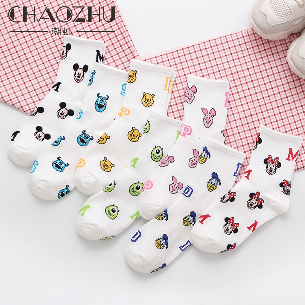 CHAOZHU White Casual Girls Fashion Cute Cartoon Mouse Pig Lady Jacquard Kawaii Funny Socks Women Skarpetki Korean Streetwear