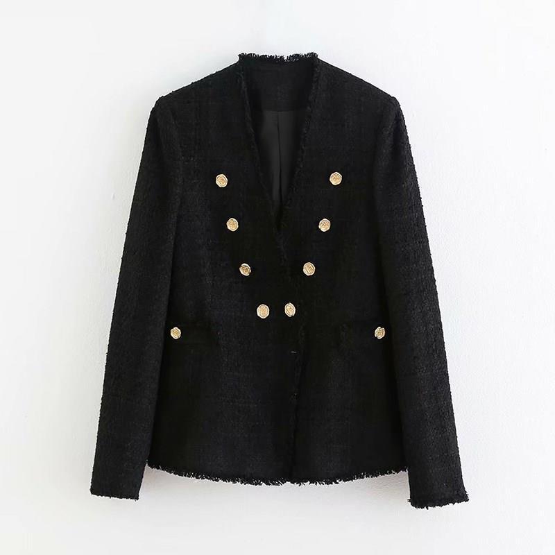Black Color Blazer Women Double Breasted Long Sleeve Casual Coat V Neck Button Elegant Jacket Outwear