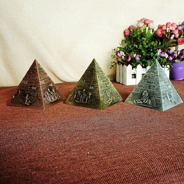 Egyptian Metal Pharaoh Khufu Pyramids Figurine Pyramid Building Statue Miniatures Home Office Desktop Decor Gift Souvenir 2