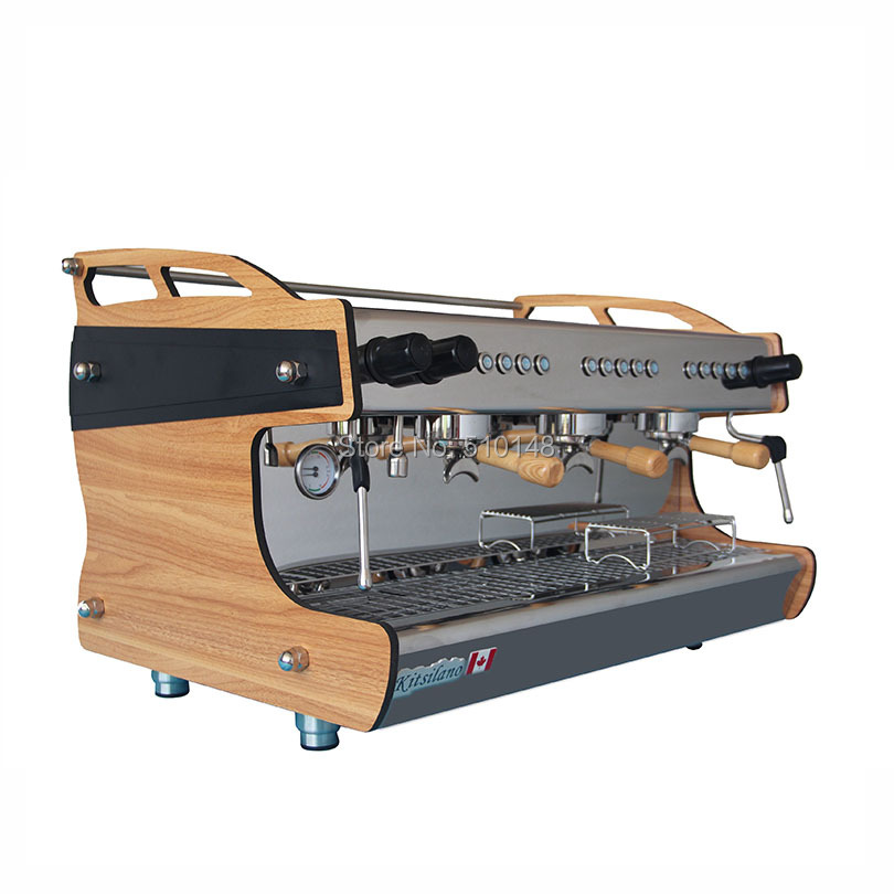 Nyankomst 3 gruppspressmakare Professionell kaffemaskin med ångstråle kopparpanna
