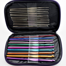 22 Knitting Tools Sweater Needle Metal Crochet Stainless Steel Aluminum Crochet Set with Leather Case Suit Weaving Tool Set 708 knitting patterns book written by zhang cui needle crochet weaving book