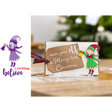 Christmas Cute Happy Little Girl Bell Decorations Believe Artistic Words Metal Cutting Dies Scrapbooking Album Paper DIY Cards Crafts Embossing New 2019