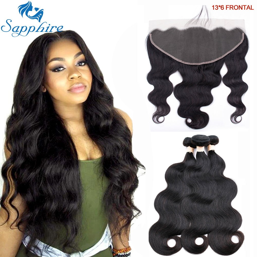 Sapphire Hair 13x6 Lace Frontal With Bundles Brazilian Body Wave 3 Bundles With Frontal Human Hair Weave Bundles Free Part Remy