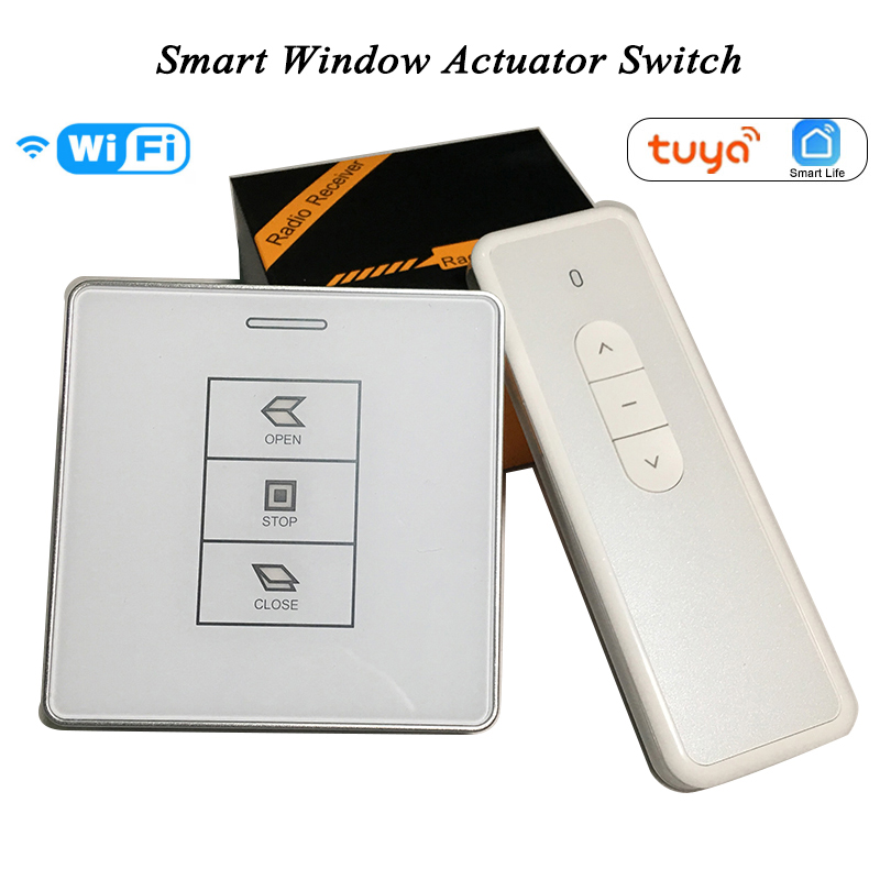 DC24V AC100-240V Tuya Smart Wifi Switch RF Receiver Remote Control For Chain Motorized Window Actuatorr Motor Wall Switch